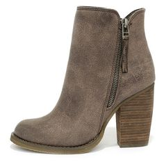 Despite its name, you can't beat the Sbicca Percussion Taupe High Heel Booties! These adorable ankle boots are true winners with a tumbled faux leather upper, …
