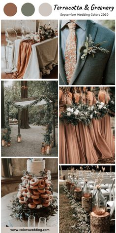 Terracotta Greenery Wedding bridesmaid dresses wedding table runner men s tie and wedding dessert wedding arch men s corsage bouquets and table centerpieces September Wedding Colors, Fall Wedding Colors, Wedding Color Schemes, Summer Wedding Themes, Wedding Color Palettes, Blush Winter Wedding, Green Spring Wedding, Country Wedding Colors, September Weddings