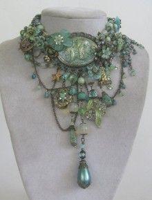 Signed Mermaid statement set in Mint and Seafoam with Hidden Locket OOAK by Jeanie Schlegel Merrick: Jewelery Artist