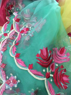Teal and pink embroidered dupatta