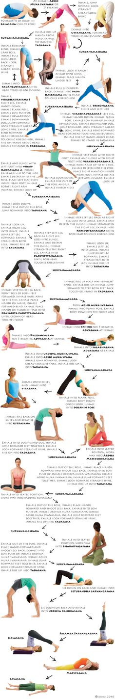 Flow Yoga - I like how this chart breaks down when to breathe and transition. A great routine before going to sleep.