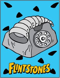 Flintstones printable blue Phone Wall décor orange 793x1039