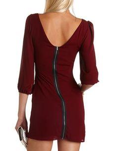 Zip-Back Chiffon Shift Dress #Fall fashion Get 10% off with promo code STURATE13