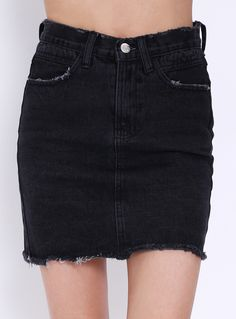 Frayed Denim Black Skirt 15.00