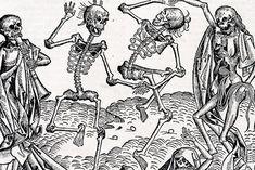 Inspired by the Black Death, The Dance of Death or Danse Macabre, an allegory on the universality of death, is a common painting motif in the late medieval period. Memento Mori, Dance Of Death, British Library, La Danse Macabre, Bubonic Plague, Black Death, Medieval Art, Medieval Tattoo, Medieval Drawings