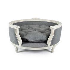 Discover the Lord Lou George Stonewash Heavy Burlap Grey Pet Sofa - M at Amara