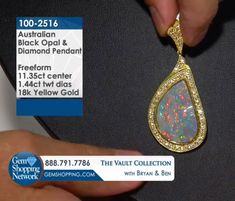 Australian Opal pendant with White Diamond halo. Discover Gemstones and stunning jewelry from every era, vintage diamond rings, Art Deco blue sapphire earrings, estate emerald bracelets, ruby necklaces and more! Tune in to Gem Shopping Network to see more stunning Gemstones & Jewelry 24/7  Item #100-2516 11.35 ct Australian Opal Freeform & 1.44 ctw Diamond Round 18K Yellow Gold Pendant