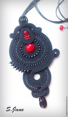 Купить Кулон. Красное и черное. - черный, красный, сутаж, сутажная техника, сутажные украшения