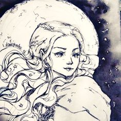 """""""Moon of my life"""" Daenerys Targeryen from Game of Thrones Used a photo reference from the series~ #fanart #ink #drawing #hahnemuhle #sketchbook #got #daenerystargaryen #art #illustration #moon"""