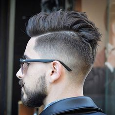 Taper Fade with Hard Part Comb Over and Beard