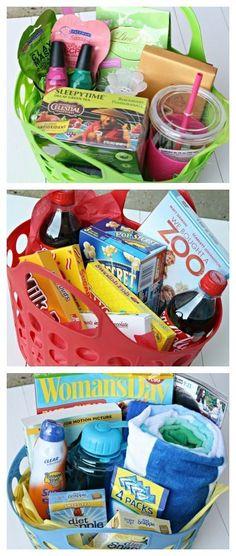 [DIY and crafts]Teacher Appreciation Gifts basket Themed Gift Baskets, Diy Gift Baskets, Raffle Baskets, Beach Basket Gift Ideas, Gift Basket Themes, Unique Gift Basket Ideas, Summer Gift Baskets, Teacher Gift Baskets, Craft Gifts