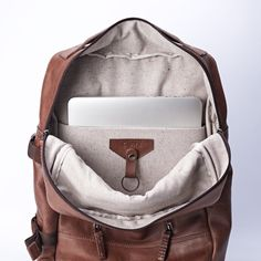 Brown Leather Backpack rucksack 13 inch laptop backpack