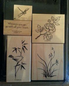 Stampin Up ASIAN ARTISTRY Rubber Stamps BIRD Nature Plants Flowers Bamboo Saying #StampinUp #FlowersBambooBirdsPlantsSaying