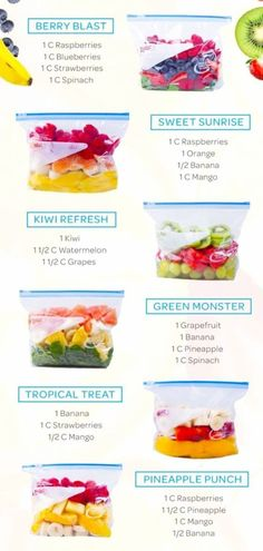 Healthy smoothies and healthy smoothie recipes - freezer smoothie packs recipes with frozen fruit - freezer smoothies make ahead healthy smoothies - easy frozen smoothie recipes with fruit Frozen Fruit Smoothie, Healthy Fruit Smoothies, Healthy Fruits, Healthy Drinks, Green Smoothies, Nutrition Drinks, Protein Smoothies, Smoothie Blender, Healthy Shakes