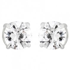 Simply classic, these round-shaped, claw set cubic zirconia earrings are timeless and elegant. Sterling Silver Earrings Studs, Stud Earrings, Silver Jewellery, Cubic Zirconia Earrings, Vintage Jewelry, Christmas, Ideas, Xmas, Stud Earring