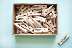 Set of 52 Little Wooden Pegs - Wedding in a Teacup