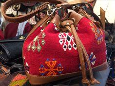 Leather Woven Rug Bag