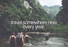 Travel somewhere new every year. Even if it is somewhere insignificant and cheap. I should start doing this. Bucket List Quotes, Bucket List Travel, Bucket List For Couples, Summer Bucket List 2017, Couple Goals Bucket Lists, Boyfriend Bucket Lists, Bucket List Life, Relationship Bucket List, Best Friend Bucket List