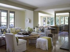 The great room has double paned floor-to-ceiling windows and French doors. Photo: David Duncan Livingston Photogra