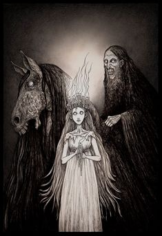 Lucia and her entorage' illustration by - john kenn mortensen. Gothic Horror, Arte Horror, Horror Art, Dark Fantasy, Fantasy Art, Illustrations, Illustration Art, Don Kenn, The Ancient Magus
