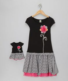 Take a look at this Black Polka Dot Daisy Dress & Doll Outfit - Girls by Dollie & Me on #zulily today!