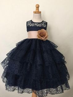 Princess A-line Scoop Navy Blue Lace Flower Girl Dress with Sash by prom dresses, $121.00 USD