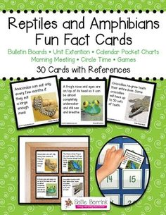 "Reptiles and Amphibians Fun Fact Cards - Great for Unit Extension Activity, Bulletin Boards and Games - One teacher said: ""My kids are addicted to reading these facts cards every morning. If I forget to read one, they are sooo quick to remind me. And the parents are learning too! During conferences, I had many parents tell me how much they had learned from their children when we read the apple and pumpkin cards. Thanks!"""