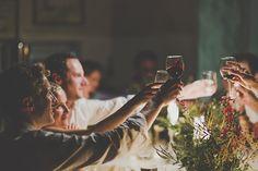 intimate dinner party journalistic wedding photo by Jennifer Moher Photography and Hugh Whitaker Photography | via junebugweddings.com