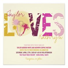 Pink Wedding Rehearsal Dinner Tropical Sunset Palm Trees Beach Summer Wedding Card
