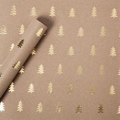 Sugar Paper® Gold Foil Trees on Brown Kraft Wrapping Paper - 30sqft