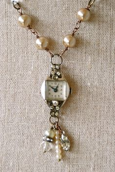 Timeless.+vintage+rhinestone+watch+necklace.+by+tiedupmemories,+$46.00