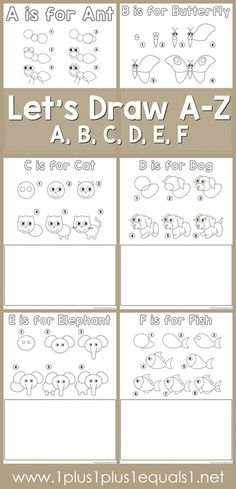 Drawing Tutorial Printables ~ Draw an Ant, Butterfly, Cat, Dog, Elephant and Fish!