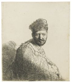 REMBRANDT HARMENSZ. VAN RIJN 1606 - 1669 BEARDED MAN, IN FURRED ORIENTAL CAP AND ROBE (B., HOLL. 263; NEW HOLL. 85; H. 53) Etching and engraving, 1631, the fourth (final) state, New Hollstein's fifth (final) state, on paper with part of an indistinct watermark  sheet: 146 by 124mm 5 3/4 by 4 7/8 in