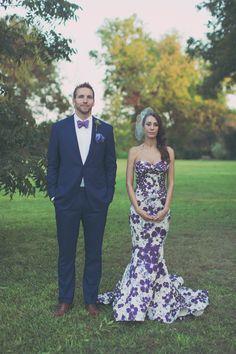 bride wearing a purple patterned Zac Posen gown