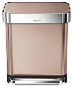 The simplehuman Stainless Steel Rectangular Step Trash Can with Liner Pocket dispenses and stores liners from inside the can. Crafted from rose gold stainless steel, the can also features a durable, wide, steel pedal and a quiet-closing lid. Rose Gold Bedroom Accessories, Sensor Bins, Trash And Recycling Bin, Kitchen Trash Cans, Home Tech, Brushed Stainless Steel, Cooking Utensils, Kos, Canning