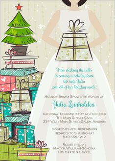Christmas bridal shower invitation christmas wedding by daxyluu christmas bridal shower invitation stock the tree personalized printable file or print package available 00105 pia7 filmwisefo