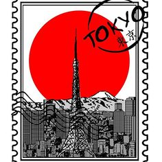 'Tokyo Skyline Stamp ' by Framed Prints, Canvas Prints, Art Prints, Tokyo Skyline, Cool Stickers, Long Hoodie, Wall Tapestry, Laptop Sleeves, Cool T Shirts