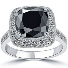 5.17 CT. Cushion Cut Black Diamond Engagement Ring  - Click to find out more - http://gioweddingrings.com/5-17-ct-cushion-cut-black-diamond-engagement-ring/