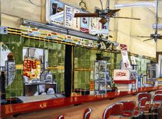 Kresge luncheonette; love this painting by Claudia Stack.  I loved eating at Kresge with Leona, Donna, and my mom.