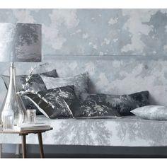 Oriental Botanica Velvet Cushion in Pewter Grey - Artist inspired Edouard Manet