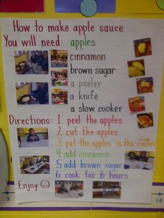 We made apple sauce in class with the apples we picked at the apple orchard