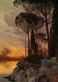 Artwork by Ferdinand Knab, Sunset, Made of oil on canvas ,1898