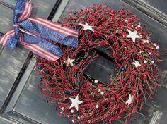 Americana Patriotic Wreath - Rustic Door Wreath -  Red Americana Star Berry Wreath - Primitive Wreath -  Americana USA on Etsy, $62.95
