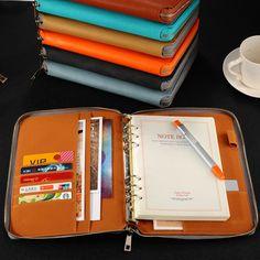 A5 caderno espiral de couro, Zíper fichário organizador planejador agenda, Macaron grande capacidade escritório documento organizador padfolio