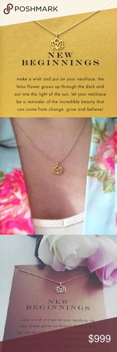 2017 Arrivals new beginnings lotus Pendant necklace gold color plated Clavicle Chains Statement Necklace with card. A symbol of new beginnings for the future. Jewelry Necklaces