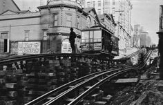 Apparatus of the Madison Street cable line, exposed during the 1906-07 regrade of Third Avenue. Seattle.