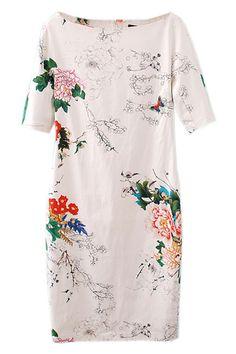 ROMWE | Floral Print Slim White Dress, The Latest Street Fashion #Romwe