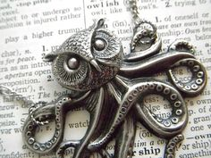 Steampunk Necklace Victorian Octopus Owl Head by CosmicFirefly, $48.00