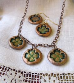 Necklace with three Shamrocks on copper by VanessaStoryDesigns, $25.00