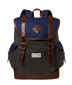 Canvas Utility Rucksack by Millburn Co. Medium rucksack for your daily use or for your weekend getaway. Single flat top handle and double adjustable shoulder straps, faux leather trim, exterior magnetic snap pockets with buckle accents at sides, fabric interior lining with one slip pocket and one zip pocket. Flap top with drawstring closure. http://zocko.it/LE59D